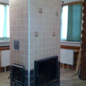 ПОСЛЕ - Ремонт голландки ,отделка мрамором,монтаж дверки